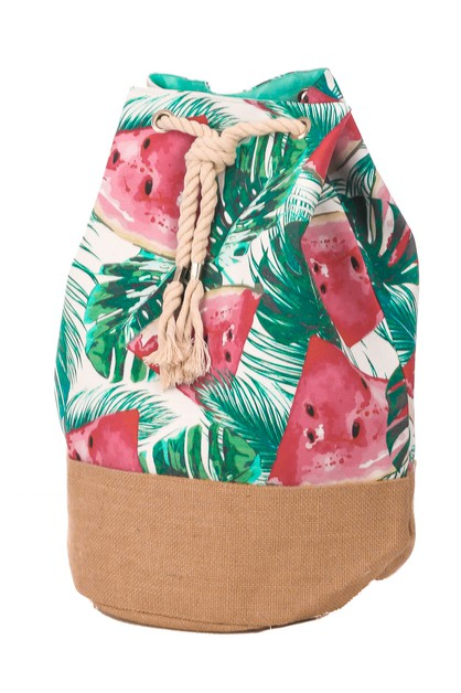 Watermelon Print Drawstring Backpack - orangeshine.com
