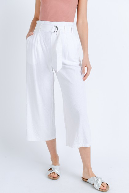 High-rise linen culottes with belt - orangeshine.com