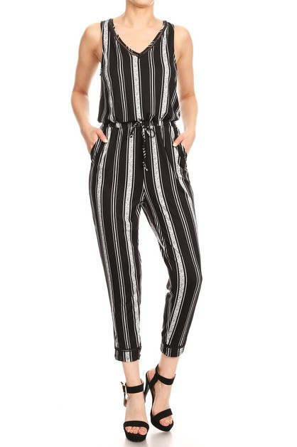 Black Stripes Overlaps Jumpsuit Trim - orangeshine.com