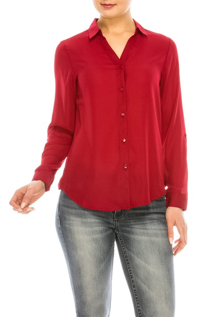 Long Sleeve Buttoned Blouse - orangeshine.com