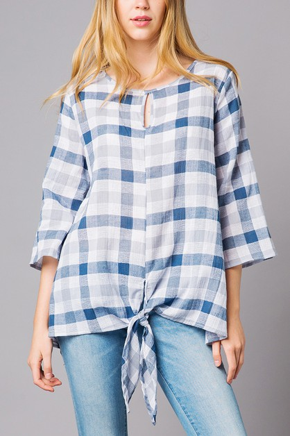 Plaid print loose-fit linen top  - orangeshine.com