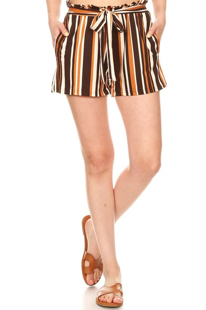 Paper Bag Waist Shorts Stripes Soft  - orangeshine.com