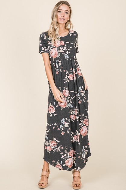 CASUAL FLORAL PRINT MAXI DRESS - orangeshine.com