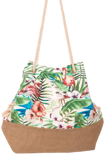 Floral Tropical Print Drawstring Bag - orangeshine.com