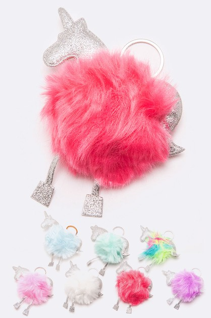 Glitter Unicorn PomPom Key Chain Set - orangeshine.com