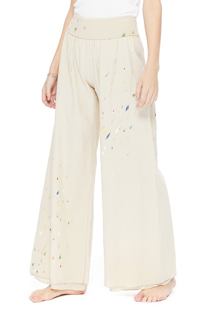 T PARTY COTTON VOIL WIDE LEG PANTS - orangeshine.com