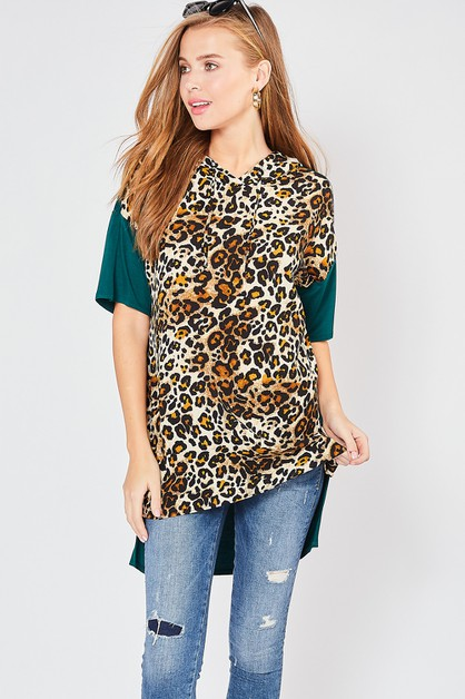 Leopard print high-low style top - orangeshine.com