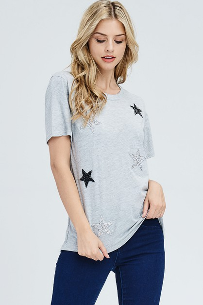 Glitter Star patched Top - orangeshine.com