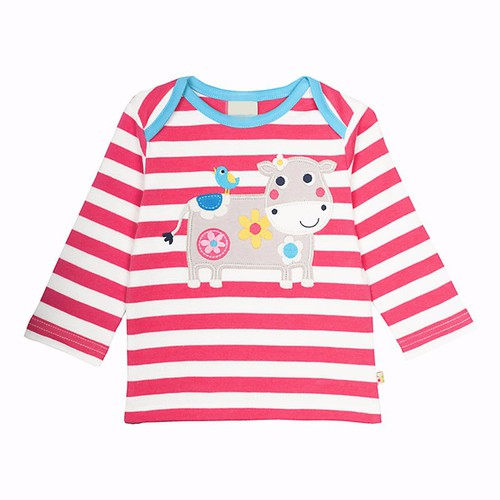 Girls Applique Cow top - orangeshine.com