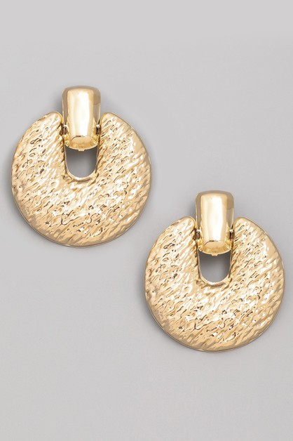 Textured Metal Disc Earrings - orangeshine.com
