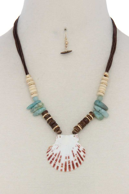 SEASHELL STONE BEADED NECKLACE - orangeshine.com