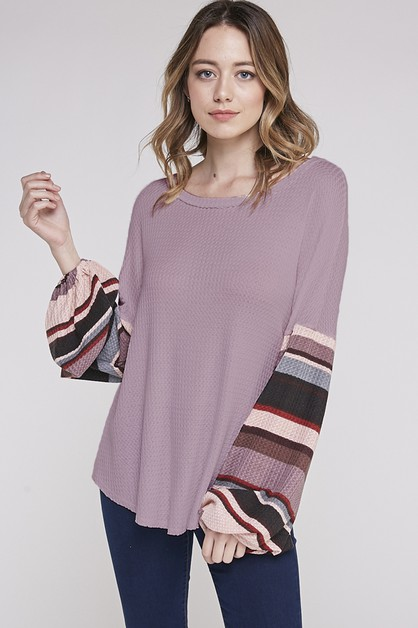 STRIPED SLEEVE CONTRAST BALLOON TOP - orangeshine.com