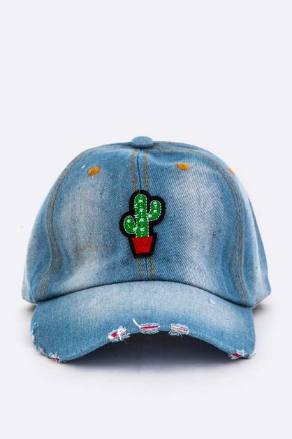 Cactus Patch Denim Cap - orangeshine.com