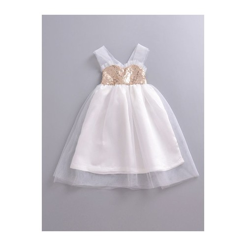 Girls Sequins Tulle Baptism Dress - orangeshine.com