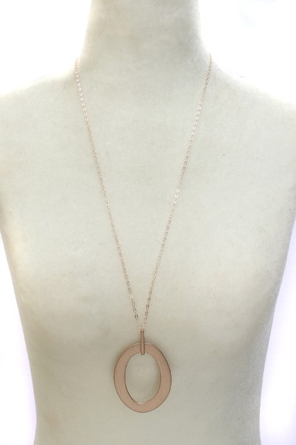 METAL ROUND  DANGLE NECKLACE  - orangeshine.com