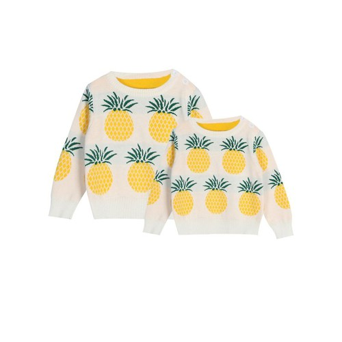 Mom me pineapple Knit Sweater Kids - orangeshine.com