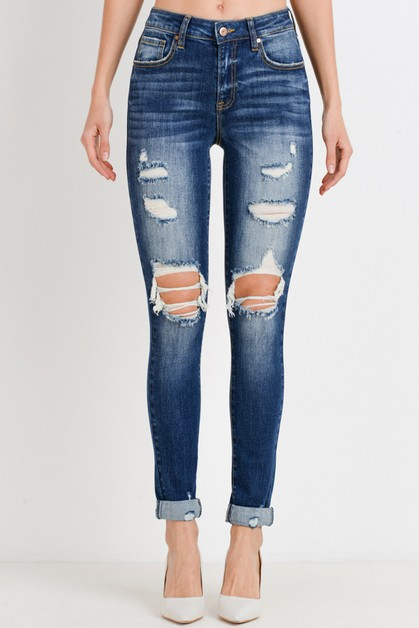 Destroyed Roll-Up Skinny Jeans - orangeshine.com