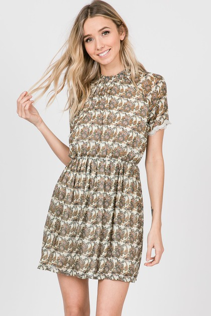 Paisley Print Dress With Lace Trim - orangeshine.com