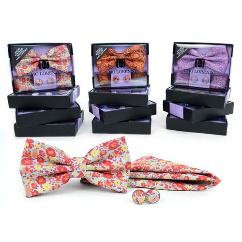 12pc Pack Men Floral Bow Tie Set - orangeshine.com