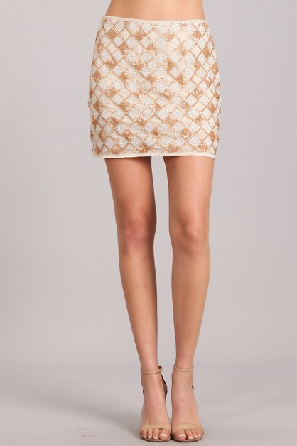 Sequined Mini Skirt - orangeshine.com