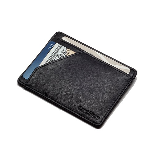 Minimalist Wallet Smooth Black Leather - orangeshine.com