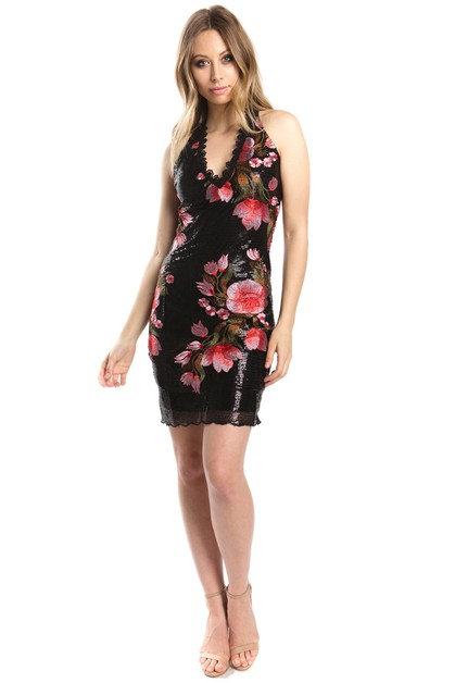 floral sequin v-neck party dress  - orangeshine.com