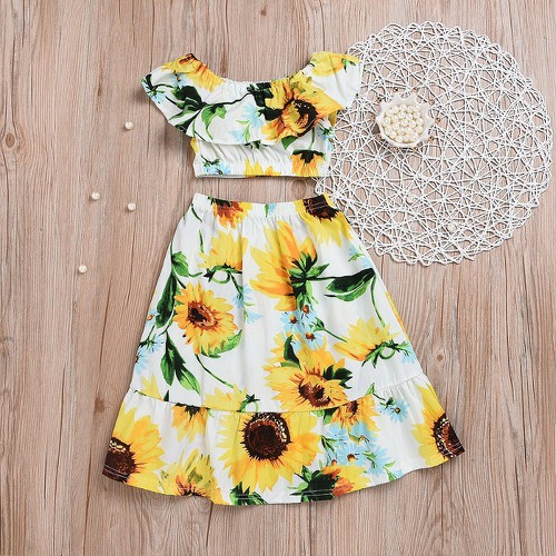 Sunflower print  Crop top Skirt set - orangeshine.com