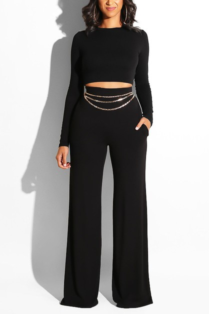 ROUND NECK LONG SLEEVE CROP TOP AND  - orangeshine.com