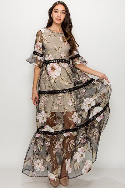 Sheer Floral Printed Maxi Dress - orangeshine.com