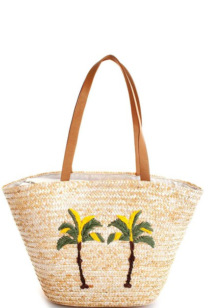 STRAW WOVEN PALM TREE SHOPPER BAG - orangeshine.com