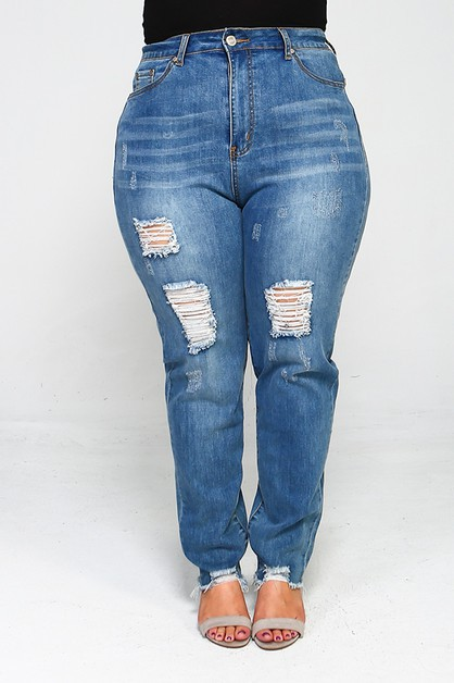 Plus Size High Waist Ripped Jeans - orangeshine.com