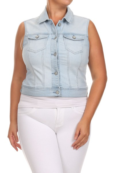 PLUS SIZE denim vest - orangeshine.com