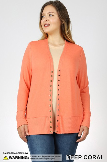 PLUS SNAP BUTTON CARDIGAN - orangeshine.com