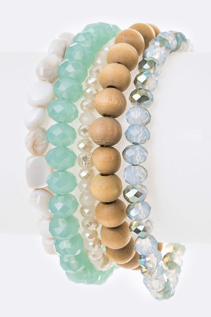 Mix Beads Stretch Bracelet Set - orangeshine.com