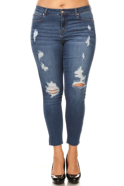 Plus Size Distressed Mid Rise Skinny - orangeshine.com