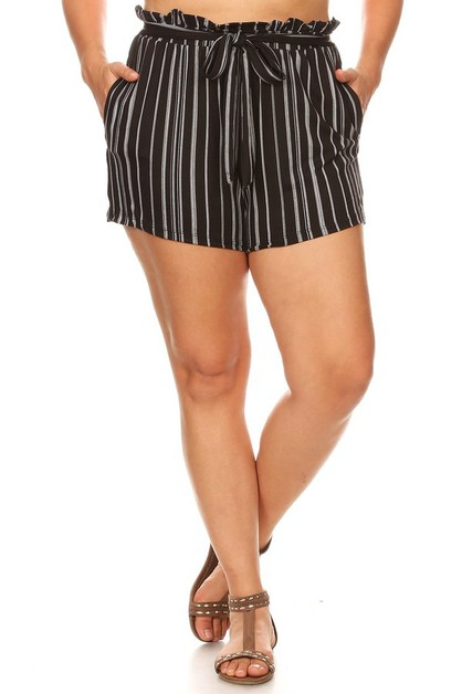 Black Plus Size Shorts boho Stripes  - orangeshine.com