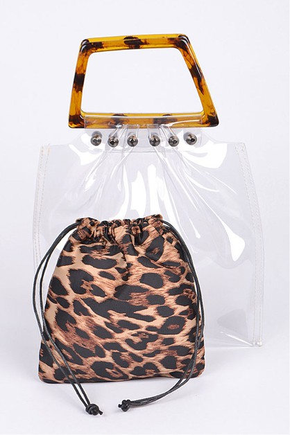 Leopard Pouch 2 In 1 Tortoise Handle - orangeshine.com