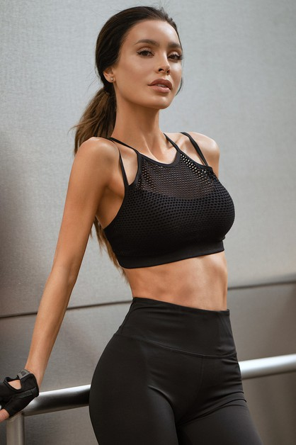 High Neck Mesh Overlay Sports Bra - orangeshine.com
