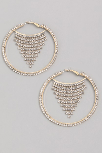 Rhinestone Hoop Fringe Earrings - orangeshine.com