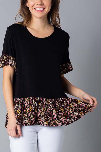 Floral print ruffled short sleeve   - orangeshine.com