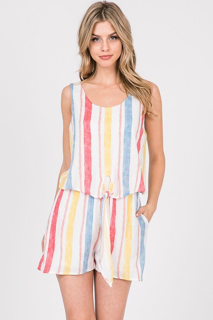 Multi Striped Gauze Printed Romper - orangeshine.com