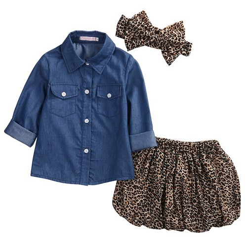 3pc Blouse Leopard skirt headband  - orangeshine.com
