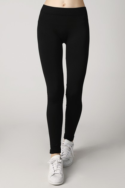 Ribbed Long Leggings With Side Lines - orangeshine.com