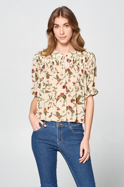 POPPY AND CREAM BLOUSE - orangeshine.com