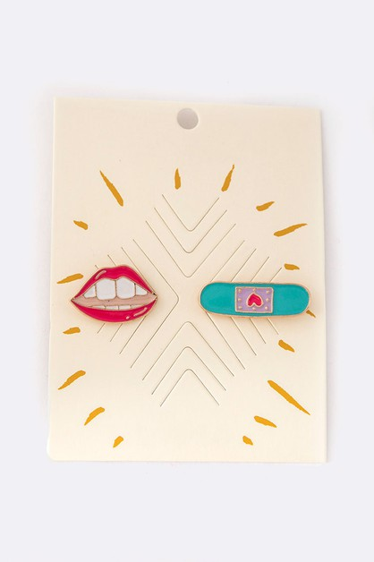 Lips and Bandage Pin Set - orangeshine.com