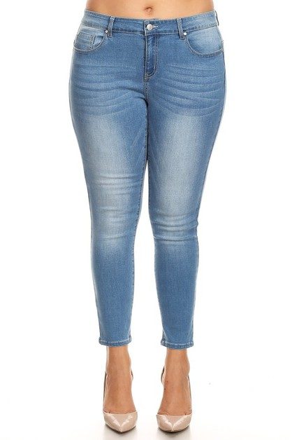 Plus Size Basic Cropped Skinny Jeans - orangeshine.com