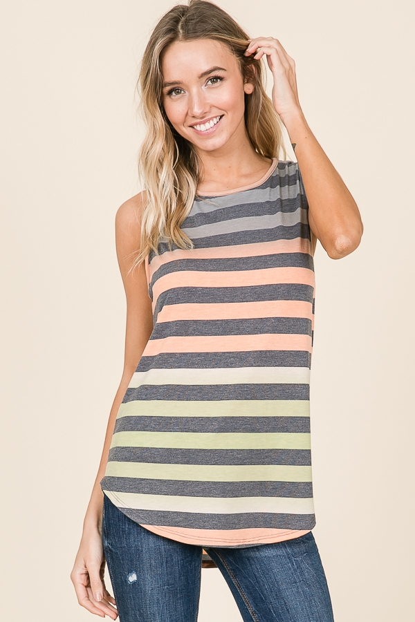 MULTI COLOR STRIPE SLEEVELESS TOP - orangeshine.com