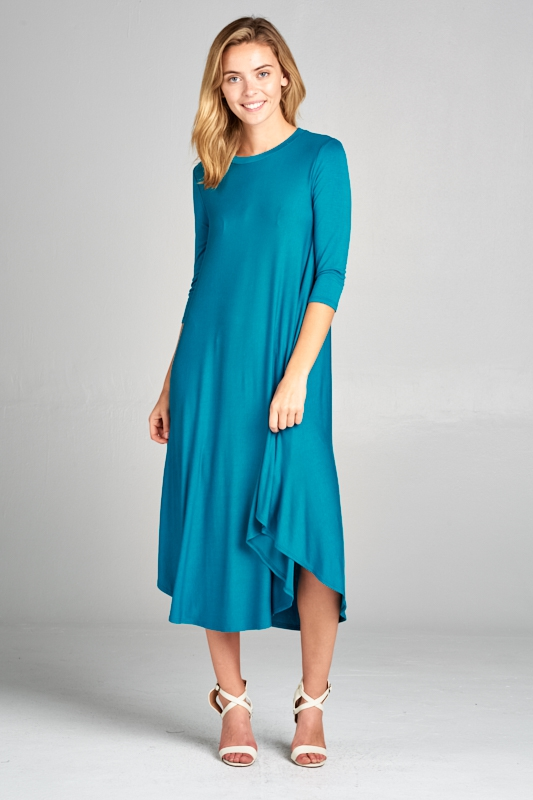 SOLID 3/4 SLEEVE SWING DRESS - orangeshine.com