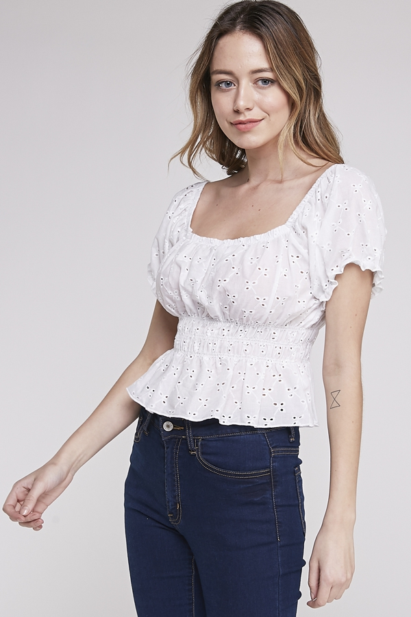 EYELET BALLOON SLEEVES TOP - orangeshine.com