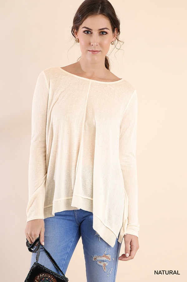 Basic Long Sleeve Slub Knit Top - orangeshine.com